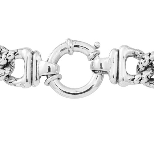 Limited Available-JCK Vegas Collection Sterling Silver Curb Bracelet (Size 8), Silver wt. 25.00 Gms.