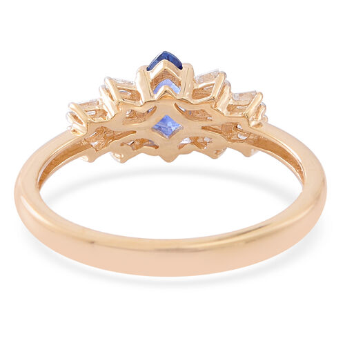 ILIANA 18K Y Gold AAAA Ceylon Sapphire (Mrq 0.75 Ct), Diamond (SI/G-H) Ring 1.000 Ct.