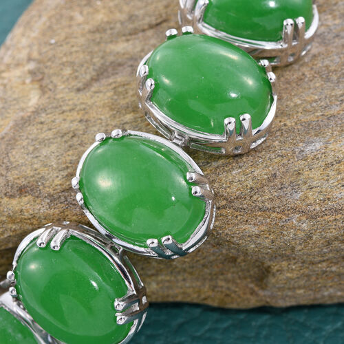 Green Jade (Ovl) Bracelet (Size 7.5 with 2 inch Extender) in Platinum Overlay Sterling Silver 68.000 Ct. Silver Wt 15.58 Gms