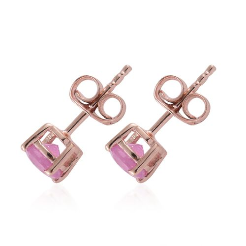 Madagascar Hot Pink Sapphire (Rnd) Stud Earrings (with Push Back) in Rose Gold Overlay Sterling Silver 1.250 Ct.