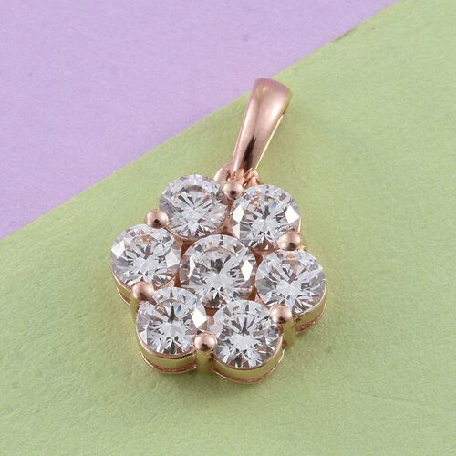 J Francis - Rose Gold Overlay Sterling Silver (Rnd) 7 Stone Floral Pendant Made with SWAROVSKI ZIRCONIA