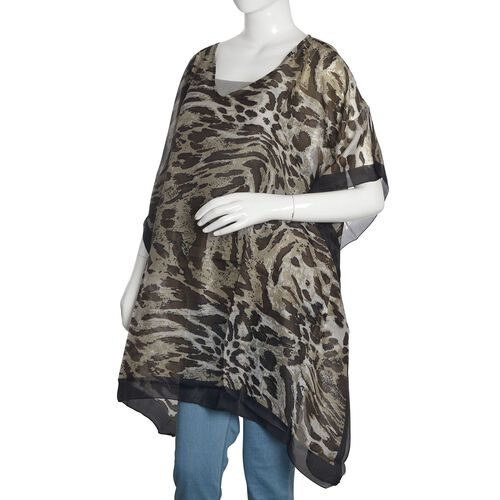 Brand New - 100% Mulberry Silk Black and Dark Brown Colour Leopard Printed Kaftan (Size 170X70 Cm)