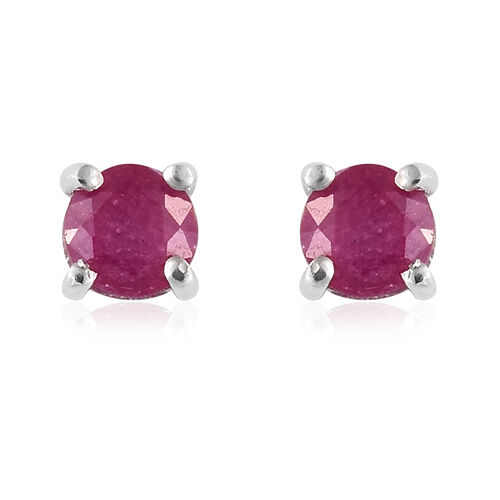 African Ruby 1.50 Ct Silver Solitaire Pendant and Stud Earrings (with Push Back) in Platinum Overlay