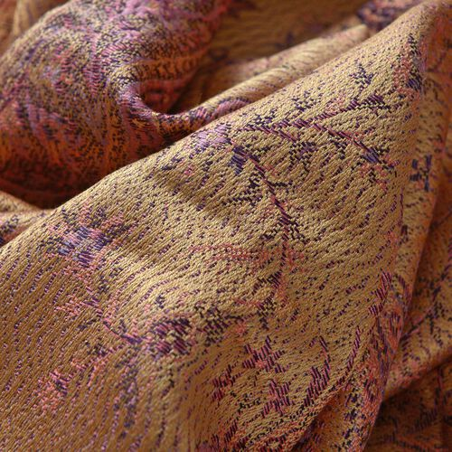 SILK MARK - 100% Superfine Silk Pink and Multi Colour Paisley and Leaves Pattern Golden Colour Jacquard Jamawar Shawl with Tassels (Size 180x70 Cm) (Weight 125-140 Grams)