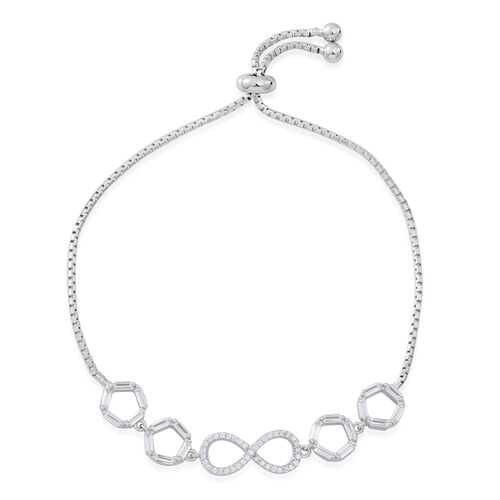 Designer Inspired-ELANZA AAA Simulated White Diamond (Rnd and Bgt) Adjustable Infinity Bracelet (Size 6.5 to 9) in Rhodium Plated Sterling Silver