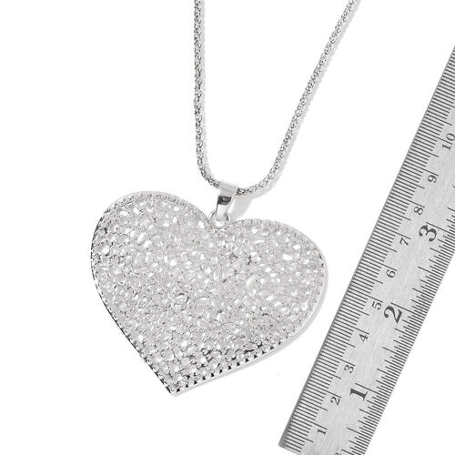 Heart Pendant with Chain (Size 28) and Hook Earrings in Silver Tone