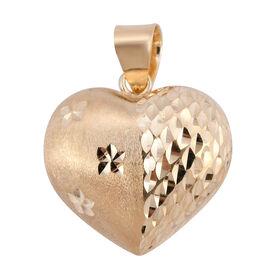 Royal Bali Collection 9K Yellow Gold Diamond Cut Heart Pendant