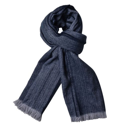 Christmas Special Deal-Designer Inspired-Dark Blue Colour Scarf with Fringes (Size 200X80 Cm)
