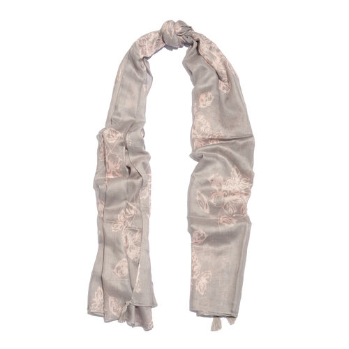 Pine Floral Pattern Grey and Pink Colour Scarf (Size 180x100 Cm)