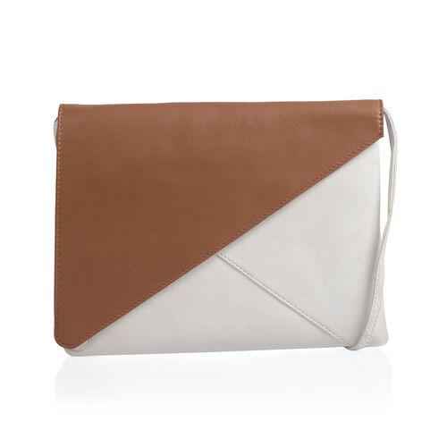 NEW SEASON Genuine Leather Tan and Off White Colour Crossbody Bag (Size 24x18 Cm)