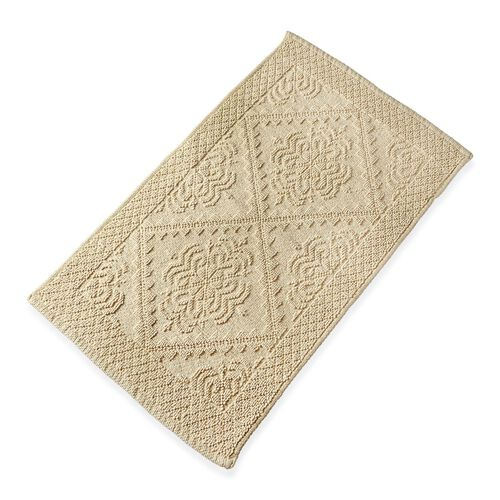 Bath Collection - 100% Cotton Beige Colour Geometrical Design Sculpted Bath Mat (Size 80X50 Cm)