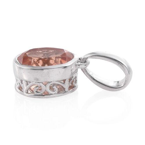 Galileia Blush Pink Quartz (Ovl) Solitaire Pendant in Platinum Overlay Sterling Silver 3.000 Ct.