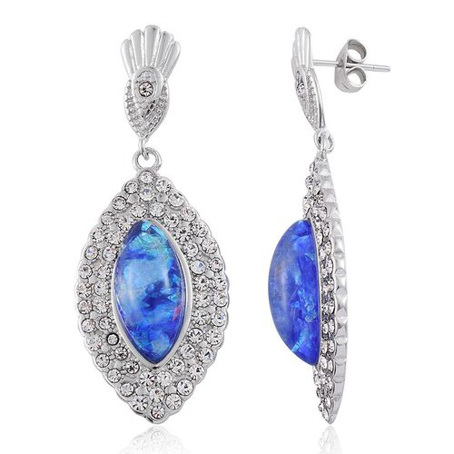 Simulated Blue Opal and White Austrian Crystal Earrings (with Push Back) in Stainless Steel