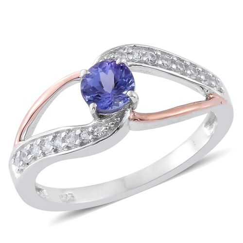 Tanzanite, Natural Cambodian Zircon 0.75 Ct Silver Ring in Platinum and Rose Gold Overlay