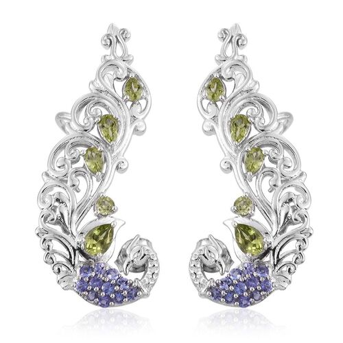 Royal Jaipur Hebei Peridot (Pear), Tanzanite and Burmese Ruby Earrings (with Push Back) in Platinum Overlay Sterling Silver 2.750 Ct.