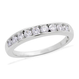 ILIANA 18K White Gold IGI Certified Diamond (Rnd) (SI/G-H) Half Eternity Band Ring 0.750 Ct.
