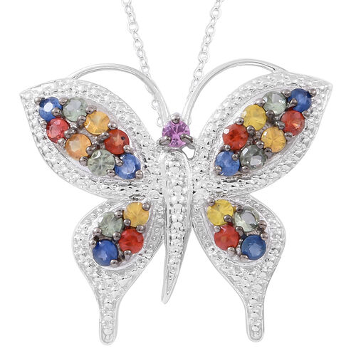 Designer Inspired- Rainbow Sapphire Butterfly Pendant with Chain in Rhodium Plated Sterling Silver 3.00 Ct. Silver wt 8.65 Gms.
