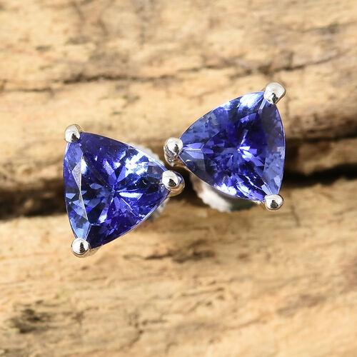 ILIANA 18K White Gold AAA Tanzanite (Trl) Stud Earrings (with Screw Back) 1.250 Ct.