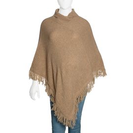 100% Wool Beige Colour Knitted Poncho with Fringes (Free Size)