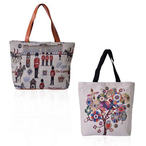 Set of 2 - Multi Colour Tree, Owl Pattern and Crown, Soldiers Pattern Beige Colour Handbag (Size 45x30x10 Cm, 45x40x10 Cm)