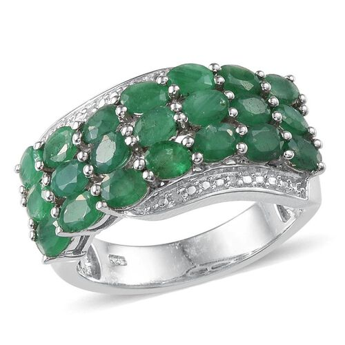 Kagem Zambian Emerald (Ovl), Diamond Ring in Platinum Overlay Sterling Silver 2.770 Ct.