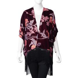 New Spring-Summer Collection- Designer Inspired Wine Red, Purple and Multi Colour Rose Flower Pattern Kimono with Tassels (Free Size)