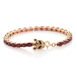 TJC Special Deal- Designer Inspired AAA African Ruby (Ovl) Leopard Head Bracelet (Size 8) in 14K Gold Overlay Sterling Silver 16.270 Ct.