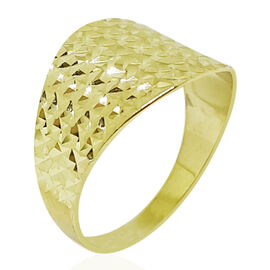 9K Yellow Gold Diamond Cut Ring