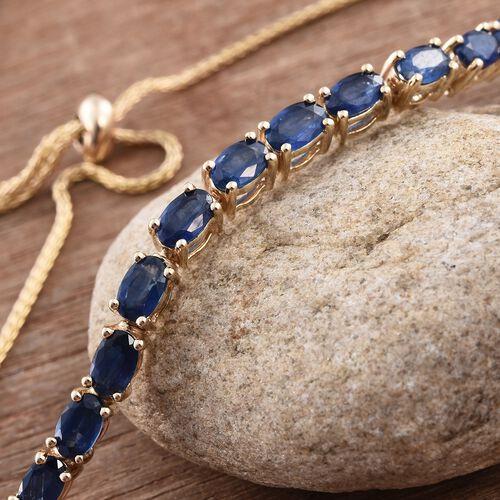 9K Yellow Gold AA Kanchanaburi Blue Sapphire (Ovl) Adjustable Bracelet (Size 6.5 to 9.5) 5.000 Ct.