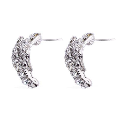 AAA White Austrian Crystal Buckle Bracelet (Size 8) and Buckle Stud Earrings in Silver Tone