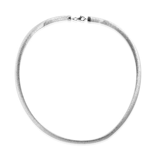 Close Out Deal Rhodium Plated Cleopatra Style Diamond Cut Sterling Silver Necklace (Size 18), Silver wt 18.90 Gms.