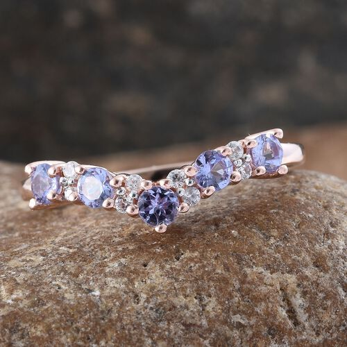 Tanzanite, Natural Cambodian Zircon 1.05 Ct Stacking Wishbone Ring in Rose Gold Overlay Sterling Silver