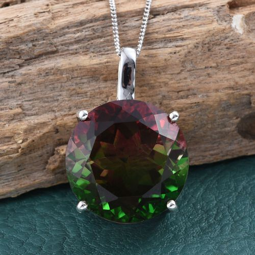 Bi-Color Tourmaline Quartz (Rnd) Pendant With Chain in Platinum Overlay Sterling Silver 21.000 Ct.