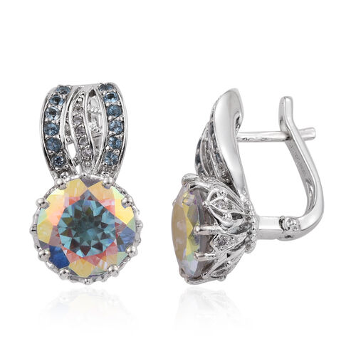 Mercury Glow (Rnd), Swiss Blue Topaz, Natural Cambodian Zircon Earrings in Platinum Overlay Sterling Silver 3.332 Ct. Silver wt 6.32 Gms.