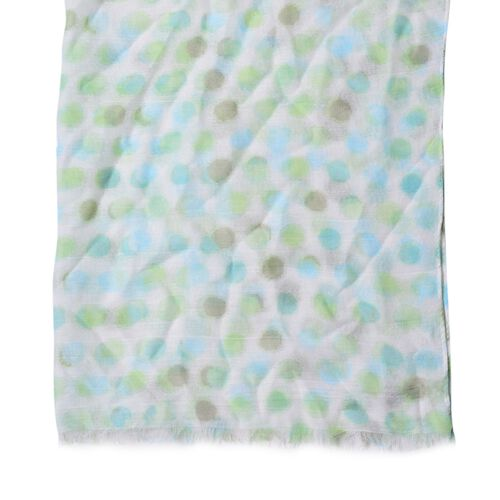 Green, Chocolate and Multi Colour Round Circle Point Pattern Blue Colour Scarf (Size 180x90 Cm)