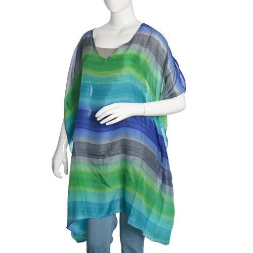 100% Mulberry Silk Blue, Green and Multi Colour Stripes Printed Kaftan (Free Size)