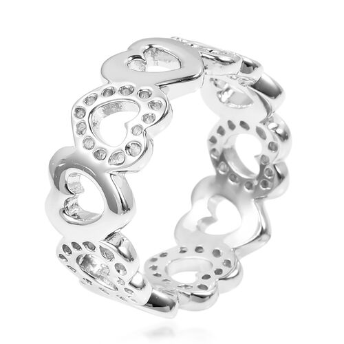 RACHEL GALLEY Rhodium Plated Sterling Silver Continual Heart Ring, Silver wt 4.00 Gms.