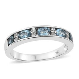 9K White Gold AA Santa Maria Aquamarine (Ovl), Natural Cambodian Zircon Half Eternity Band Ring 1.000 Ct.