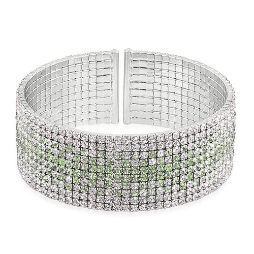 AAA White and Green Austrian Crystal Cuff Bangle (Size 7.5) in Silver Tone