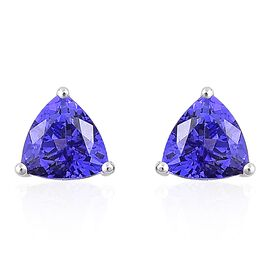 ILIANA 18K White Gold 2 Ct. AAAA Tanzanite (Trl) Stud Earrings (with Push Back)