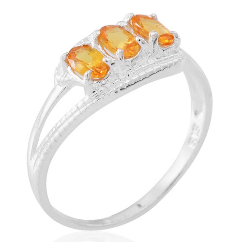 Chanthaburi Yellow Sapphire (Ovl) Trilogy Ring in Sterling Silver 1.000 Ct.
