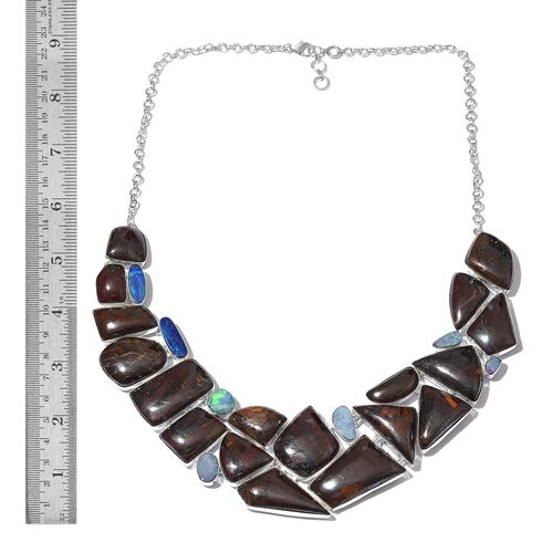 Boulder Opal Rock and Opal Double Necklace (Size 18 with 1 inch Extender) in Sterling Silver 466.760 Ct.