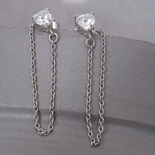 J Francis - Platinum Overlay Sterling Silver (Hrt) Chain Earrings (with Push Back) Made with SWAROVSKI ZIRCONIA