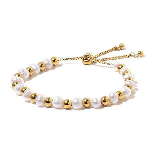 Fresh Water White Pearl (7-8 mm) Adjustable Bracelet (Size 6.5-9.5) and Hook Earrings in ION Plated Yellow Gold Tone with Stainless Steel