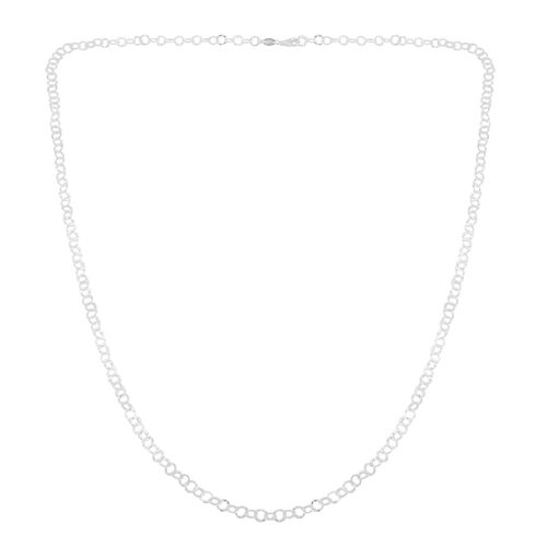 Royal Bali Collection Sterling Silver Hammered Open Circle Chain (Size 36), Silver wt. 9.02 Gms.