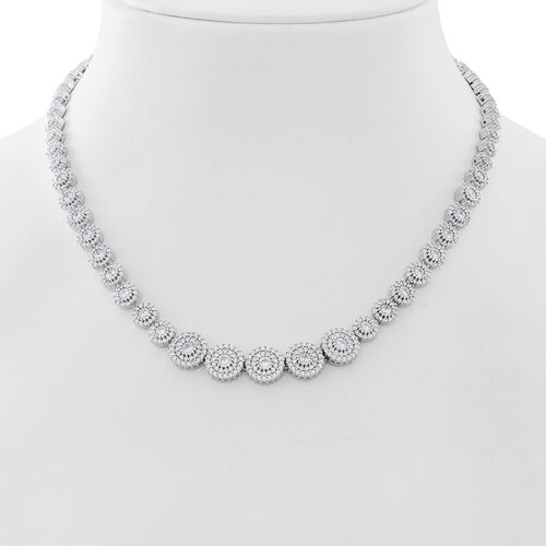Designer Inspired ELANZA AAA Simulated White Diamond (Rnd) Necklace (Size 17) in Rhodium Plated Sterling Silver.Silver Wt 33.20 Gms Number of Simulated White Diamonds 777