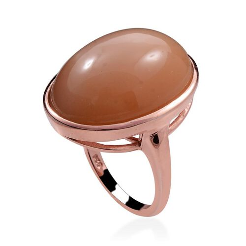 Mitiyagoda Peach Moonstone (Ovl) Solitaire Ring in Rose Gold Overlay Sterling Silver 20.000 Ct.