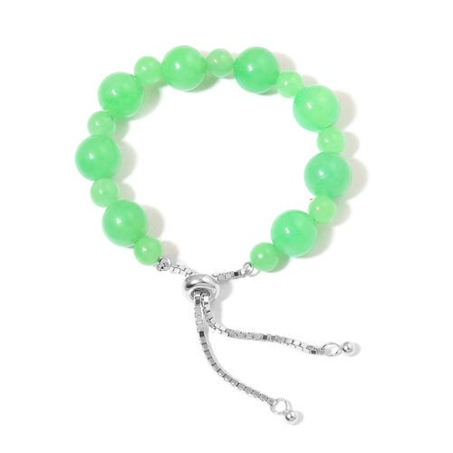 One Time Deal-Rare Burmese Green Jade (Rnd) Adjustable Bracelet (Size 6.5 to 8.5) in Rhodium Plated Sterling Silver 90.000 Ct.
