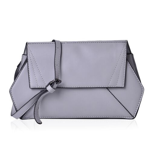 Classic Grey and Black Colour Crossbody Bag with Adjustable and Removable Shoulder Strap (Size 27.5x16.5x6 Cm)