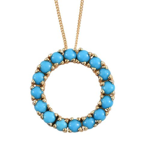 Arizona Sleeping Beauty Turquoise (Rnd) Circle of Life Pendant with Chain in 14K Gold Overlay Sterling Silver 2.000 Ct.